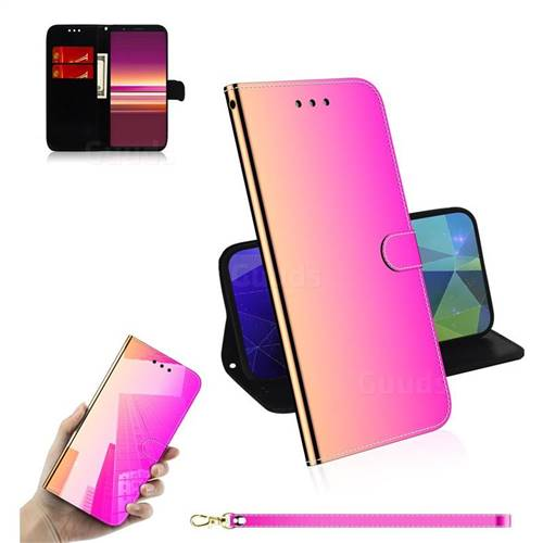 Shining Mirror Like Surface Leather Wallet Case for Sony Xperia 5 / Xperia XZ5 - Rainbow Gradient