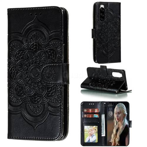 Intricate Embossing Datura Solar Leather Wallet Case for Sony Xperia 5 / Xperia XZ5 - Black