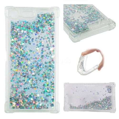 Dynamic Liquid Glitter Sand Quicksand Star TPU Case for Sony Xperia XZ Premium XZP - Silver