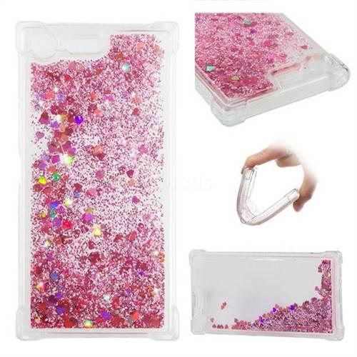 Dynamic Liquid Glitter Sand Quicksand Star TPU Case for Sony Xperia XZ Premium XZP - Diamond Rose