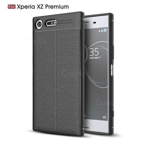Luxury Auto Focus Litchi Texture Silicone TPU Back Cover for Sony Xperia XZ Premium XZP - Black
