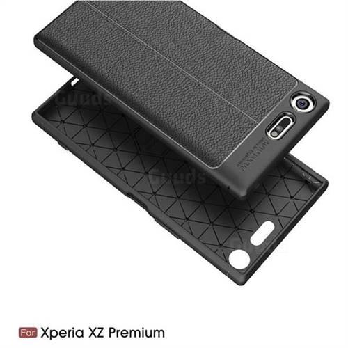 cheap for discount 467b0 756dc Luxury Auto Focus Litchi Texture Silicone TPU Back Cover for Sony Xperia XZ  Premium XZP - Black