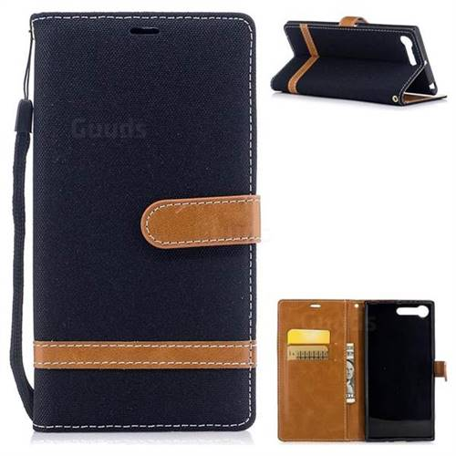 Jeans Cowboy Denim Leather Wallet Case for Sony Xperia XZ Premium XZP - Black