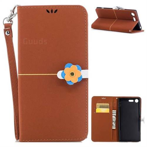 Brown Gold Velvet Smooth PU Leather Wallet Case for Sony Xperia XZ Premium XZP