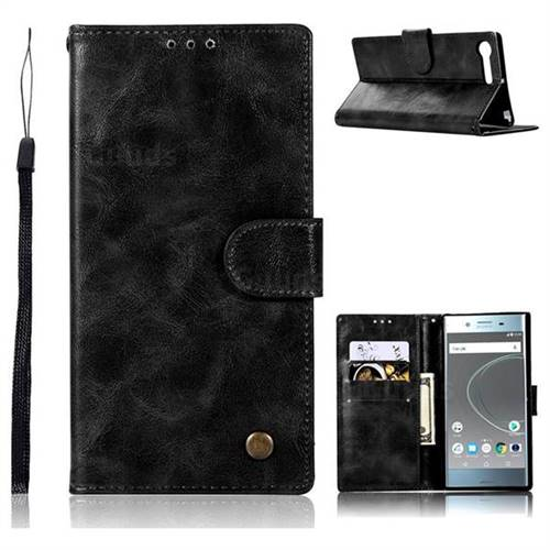 Luxury Retro Leather Wallet Case for Sony Xperia XZ Premium XZP - Black