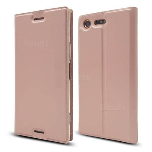 Ultra Slim Card Magnetic Automatic Suction Leather Wallet Case for Sony Xperia XZ Premium XZP - Rose Gold