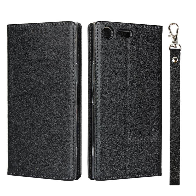 Ultra Slim Magnetic Automatic Suction Silk Lanyard Leather Flip Cover for Sony Xperia XZ Premium XZP - Black