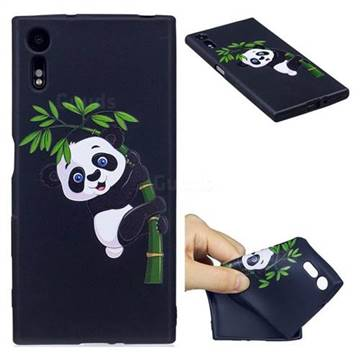 Bamboo Panda 3D Embossed Relief Black Soft Back Cover for Sony Xperia XZs