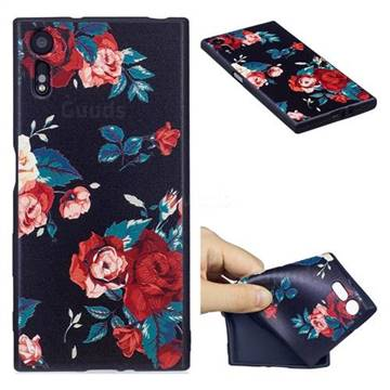 Safflower 3D Embossed Relief Black Soft Back Cover for Sony Xperia XZs