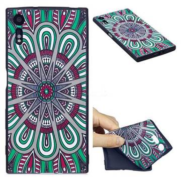 Mandala 3D Embossed Relief Black Soft Back Cover for Sony Xperia XZs