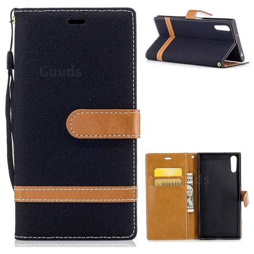 Jeans Cowboy Denim Leather Wallet Case for Sony Xperia XZs - Black