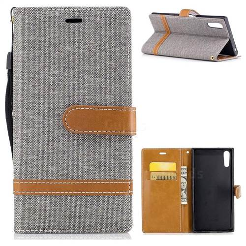 Jeans Cowboy Denim Leather Wallet Case for Sony Xperia XZs - Gray