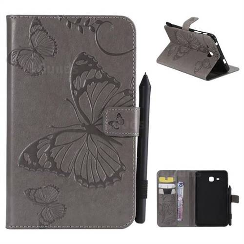 Embossing 3D Butterfly Leather Wallet Case for Samsung Galaxy Tab A 7.0 (2016) T280 T285 - Gray