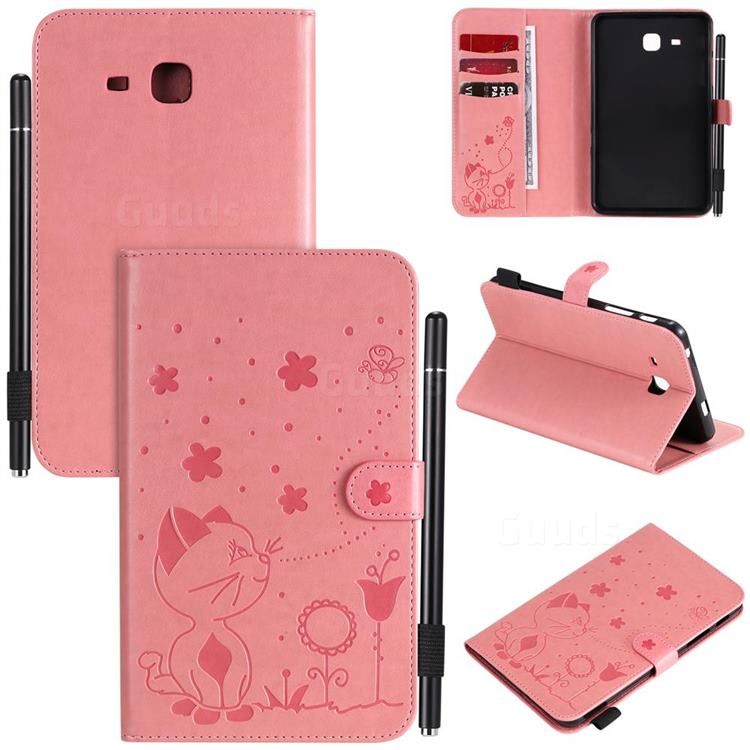 Embossing Bee and Cat Leather Flip Cover for Samsung Galaxy Tab A 7.0 (2016) T280 T285 - Pink