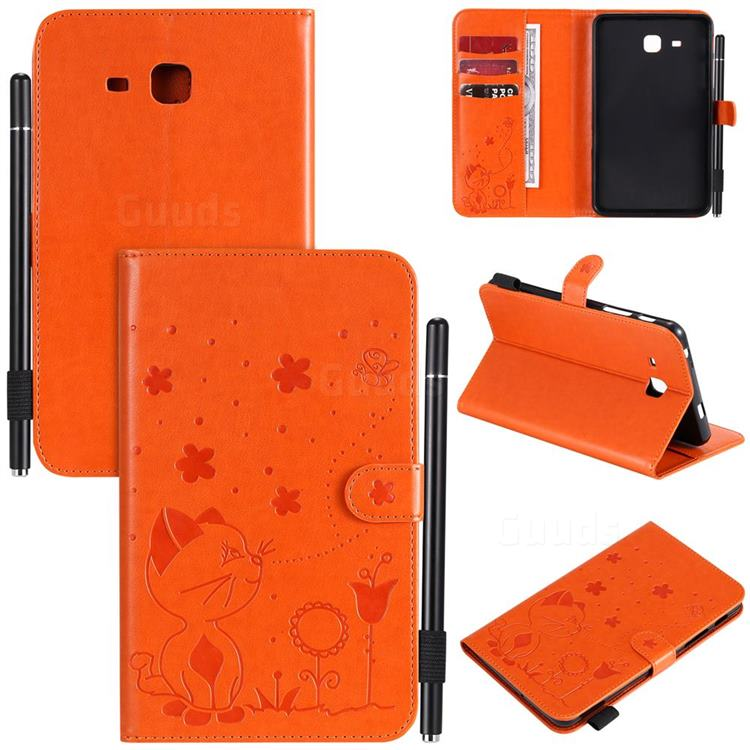 Embossing Bee and Cat Leather Flip Cover for Samsung Galaxy Tab A 7.0 (2016) T280 T285 - Orange