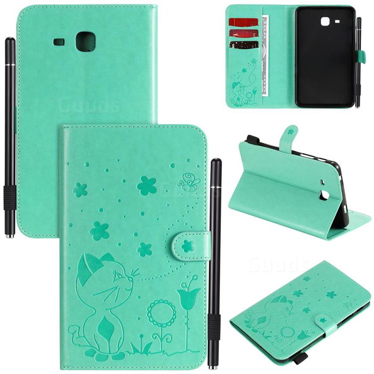 Embossing Bee and Cat Leather Flip Cover for Samsung Galaxy Tab A 7.0 (2016) T280 T285 - Green