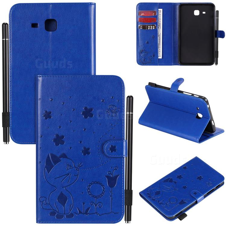 Embossing Bee and Cat Leather Flip Cover for Samsung Galaxy Tab A 7.0 (2016) T280 T285 - Blue