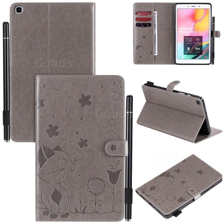 Embossing Bee and Cat Leather Flip Cover for Samsung Galaxy Tab A 8.0 (2019) T290 T295 - Gray