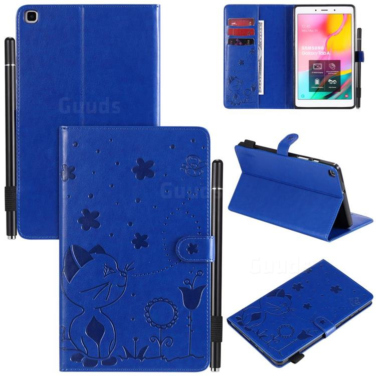 Embossing Bee and Cat Leather Flip Cover for Samsung Galaxy Tab A 8.0 (2019) T290 T295 - Blue