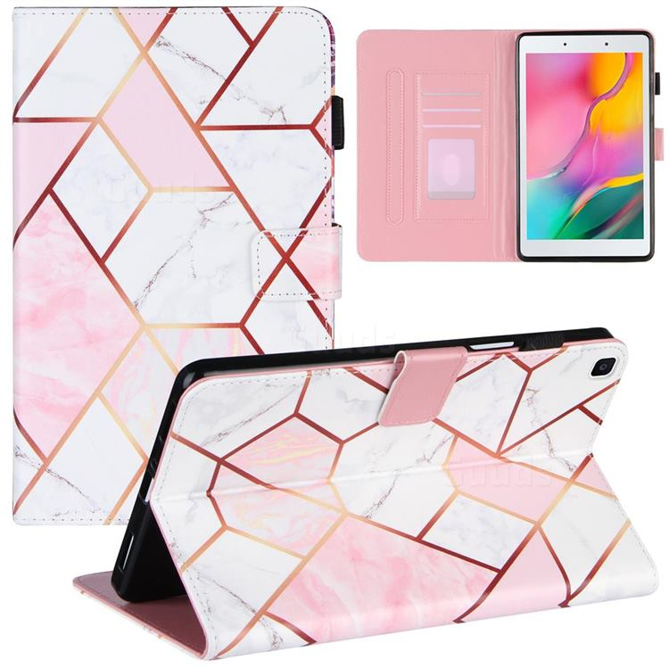 Pink White Stitching Color Marble Leather Flip Cover for Samsung Galaxy Tab A 8.0 (2019) T290 T295