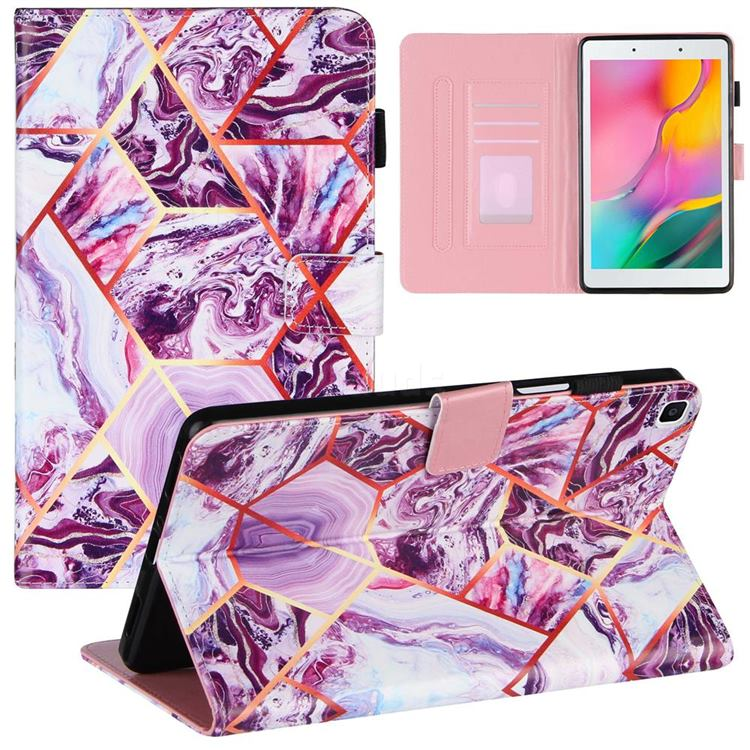 Dream Purple Stitching Color Marble Leather Flip Cover for Samsung Galaxy Tab A 8.0 (2019) T290 T295