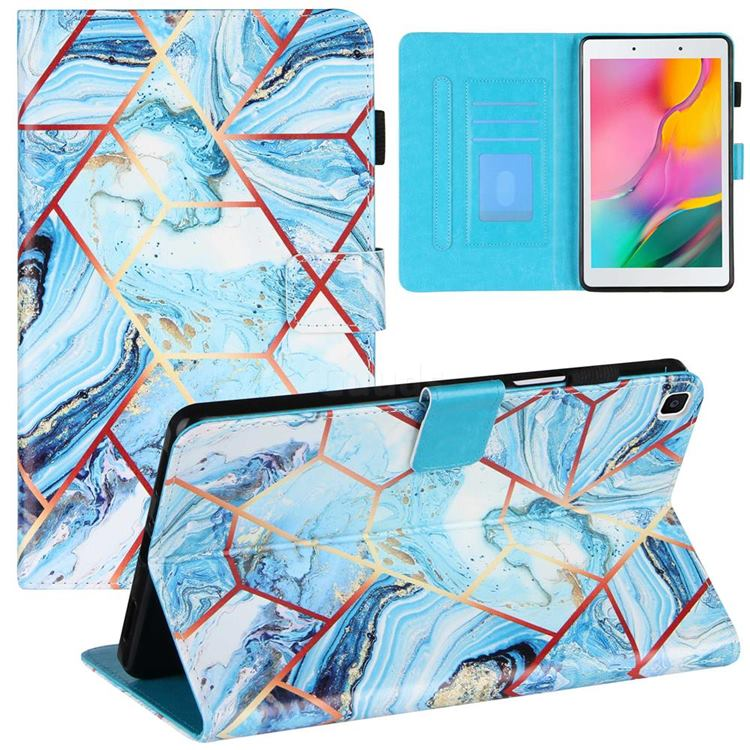Lake Blue Stitching Color Marble Leather Flip Cover for Samsung Galaxy Tab A 8.0 (2019) T290 T295