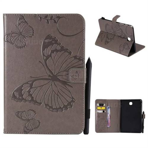 Embossing 3D Butterfly Leather Wallet Case for Samsung Galaxy Tab A 8.0 T350 T355 - Gray