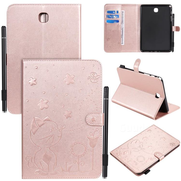 Embossing Bee and Cat Leather Flip Cover for Samsung Galaxy Tab A 8.0 T350 T355 - Rose Gold