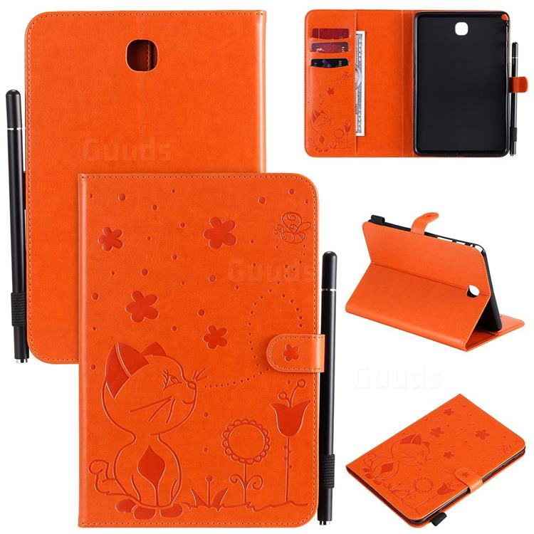 Embossing Bee and Cat Leather Flip Cover for Samsung Galaxy Tab A 8.0 T350 T355 - Orange