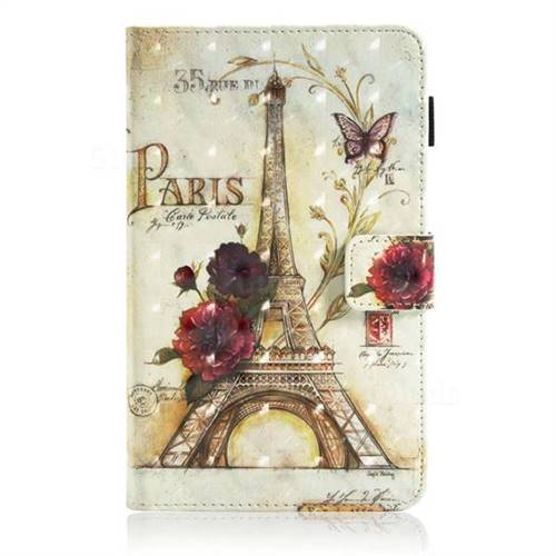 promo code f7a0f c6178 Flower Eiffel Tower 3D Painted Leather Wallet Tablet Case for Samsung  Galaxy Tab E 8.0 T375 T377