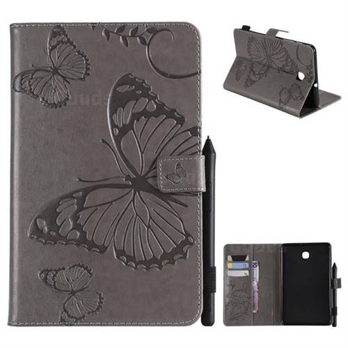 Embossing 3D Butterfly Leather Wallet Case for Samsung Galaxy Tab A 8.0(2018) T387 - Gray