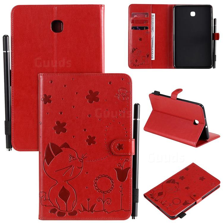 Embossing Bee and Cat Leather Flip Cover for Samsung Galaxy Tab A 8.0(2018) T387 - Red