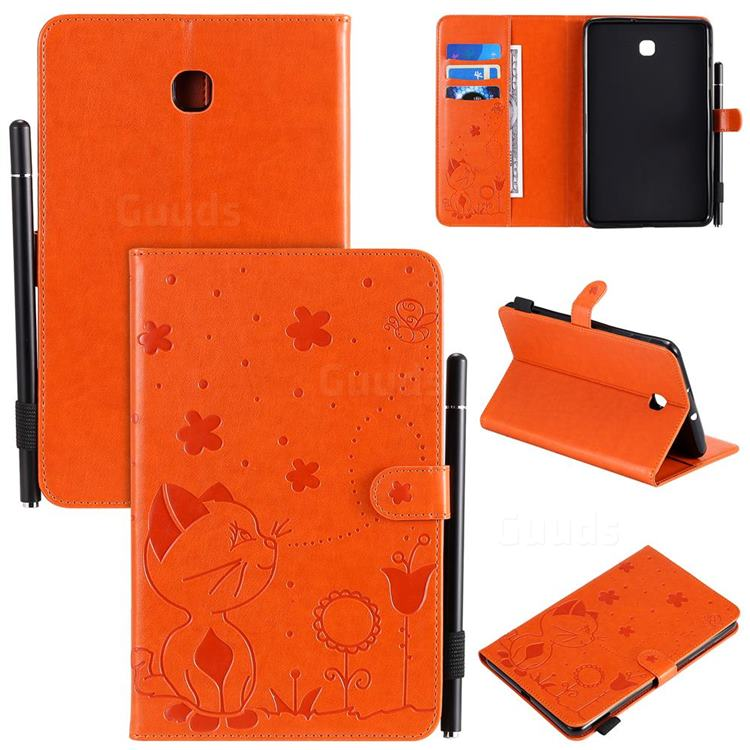 Embossing Bee and Cat Leather Flip Cover for Samsung Galaxy Tab A 8.0(2018) T387 - Orange