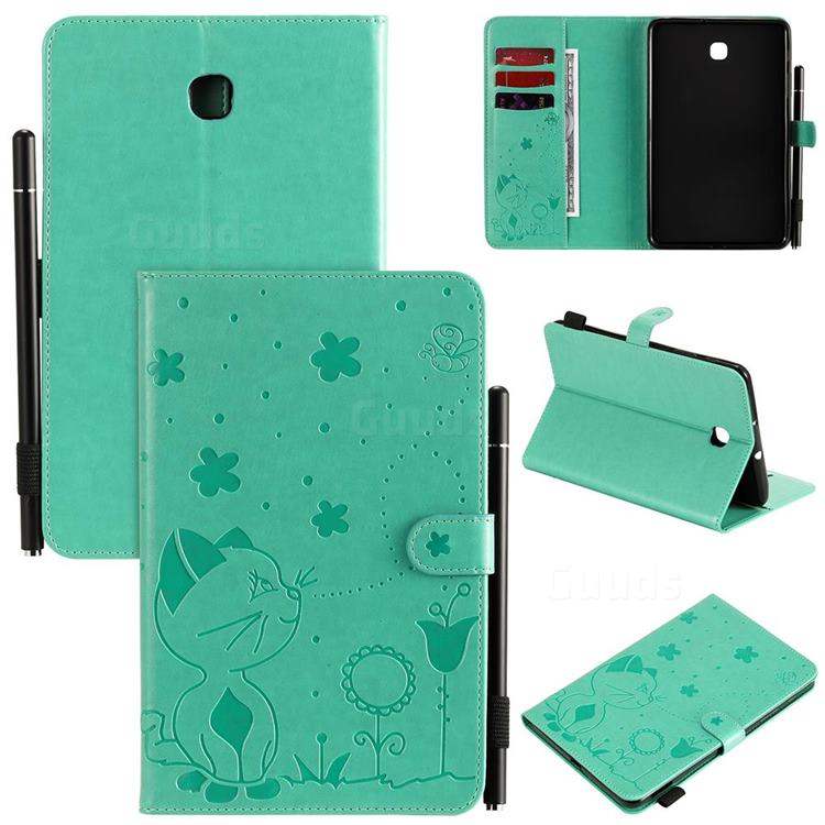 Embossing Bee and Cat Leather Flip Cover for Samsung Galaxy Tab A 8.0(2018) T387 - Green