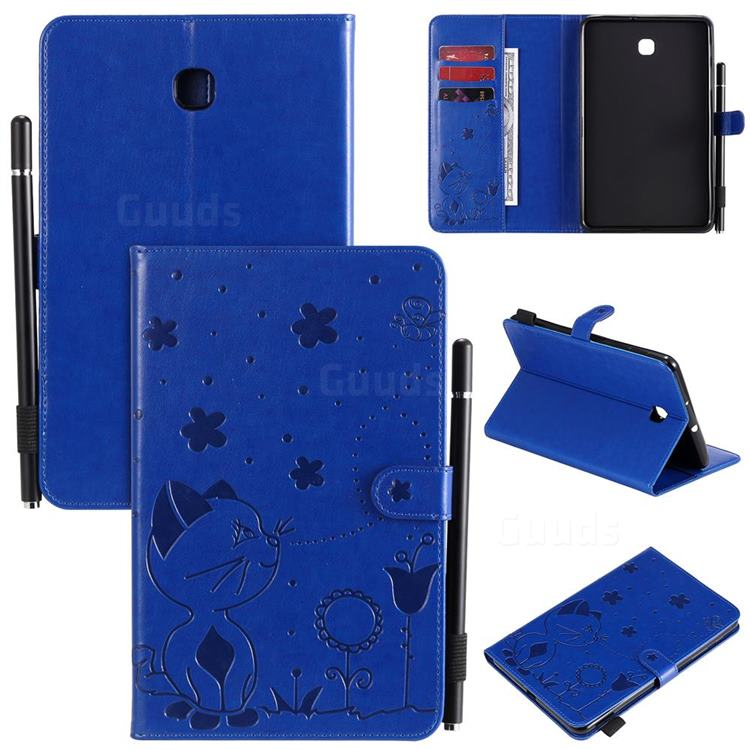 Embossing Bee and Cat Leather Flip Cover for Samsung Galaxy Tab A 8.0(2018) T387 - Blue