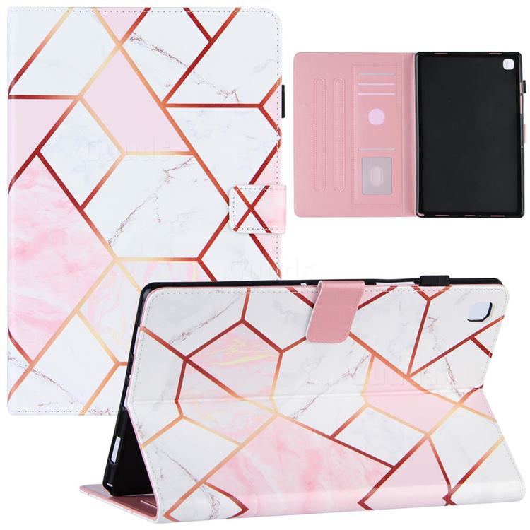 Pink White Stitching Color Marble Leather Flip Cover for Samsung Galaxy Tab A7 10.4 (2020) T500 T505