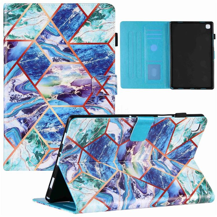 Green and Blue Stitching Color Marble Leather Flip Cover for Samsung Galaxy Tab A7 10.4 (2020) T500 T505