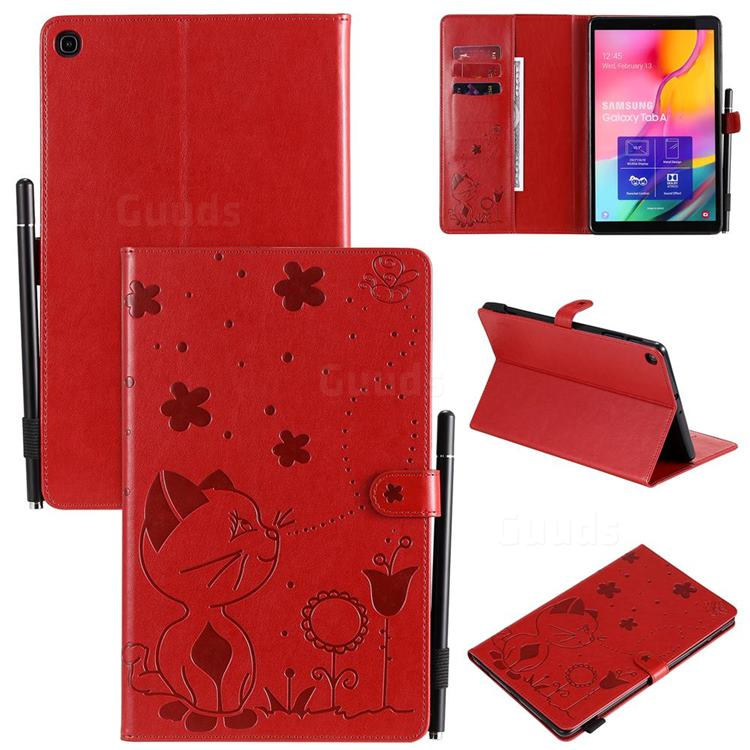 Embossing Bee and Cat Leather Flip Cover for Samsung Galaxy Tab A 10.1 (2019) T510 T515 - Red