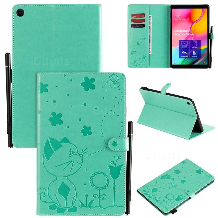 Embossing Bee and Cat Leather Flip Cover for Samsung Galaxy Tab A 10.1 (2019) T510 T515 - Green
