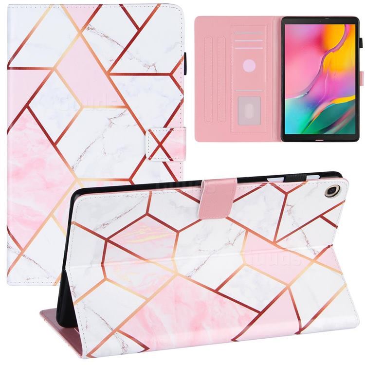 Pink White Stitching Color Marble Leather Flip Cover for Samsung Galaxy Tab A 10.1 (2019) T510 T515