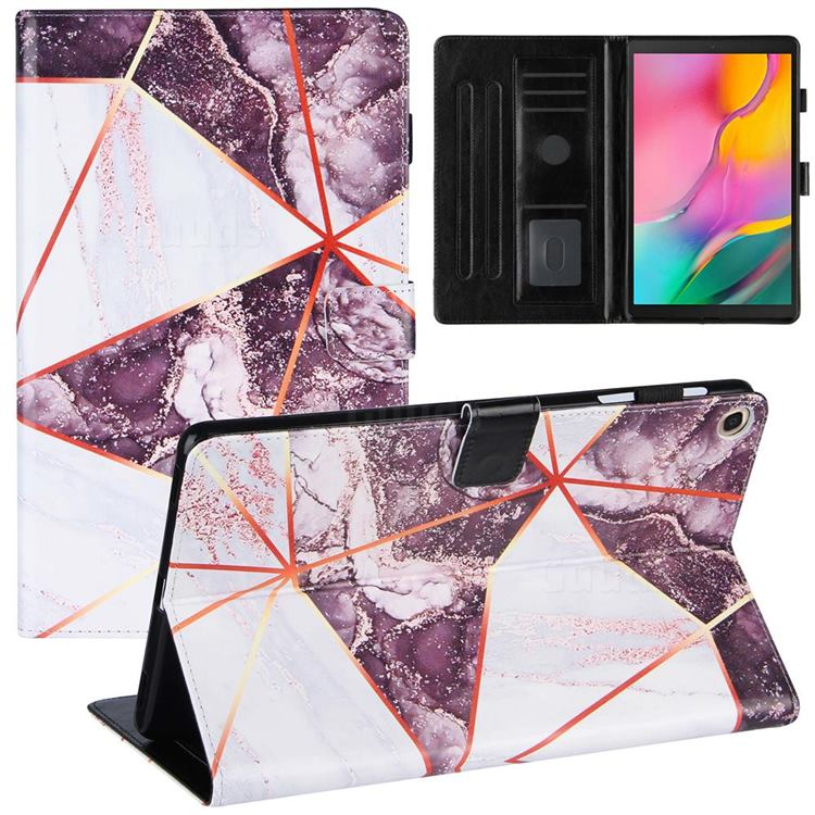 Black and White Stitching Color Marble Leather Flip Cover for Samsung Galaxy Tab A 10.1 (2019) T510 T515
