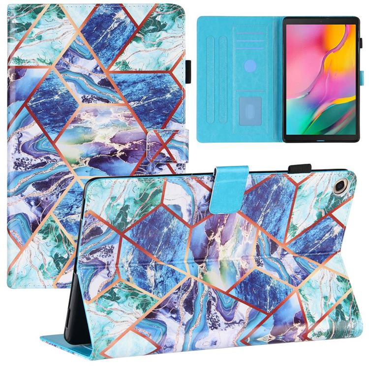 Green and Blue Stitching Color Marble Leather Flip Cover for Samsung Galaxy Tab A 10.1 (2019) T510 T515