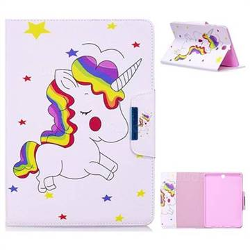 Rainbow Unicorn Folio Flip Stand Leather Wallet Case for Samsung Galaxy Tab A 9.7 T550 T555
