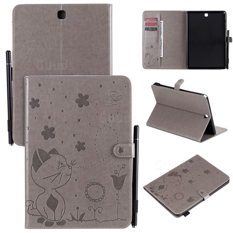 Embossing Bee and Cat Leather Flip Cover for Samsung Galaxy Tab A 9.7 T550 T555 - Gray
