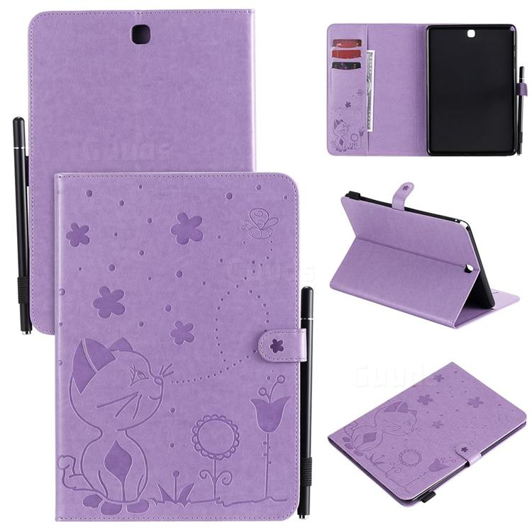 Embossing Bee and Cat Leather Flip Cover for Samsung Galaxy Tab A 9.7 T550 T555 - Purple