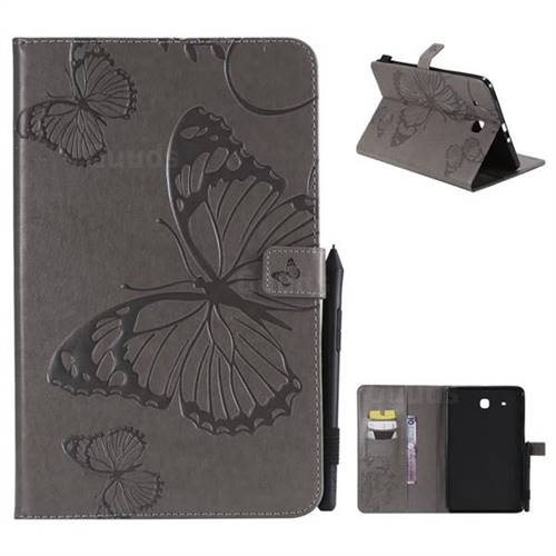 Embossing 3D Butterfly Leather Wallet Case for Samsung Galaxy Tab E 9.6 T560 T561 - Gray