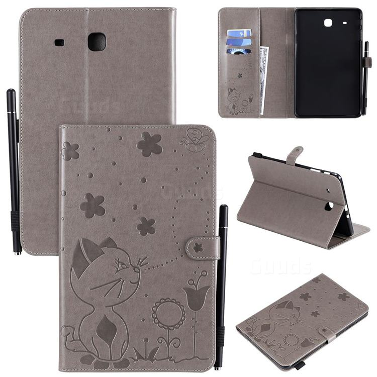 Embossing Bee and Cat Leather Flip Cover for Samsung Galaxy Tab E 9.6 T560 T561 - Gray