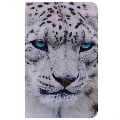 White Leopard Folio Flip Stand Leather Wallet Case for Samsung Galaxy Tab A 10.1 T580 T585 - Leather Case - Guuds