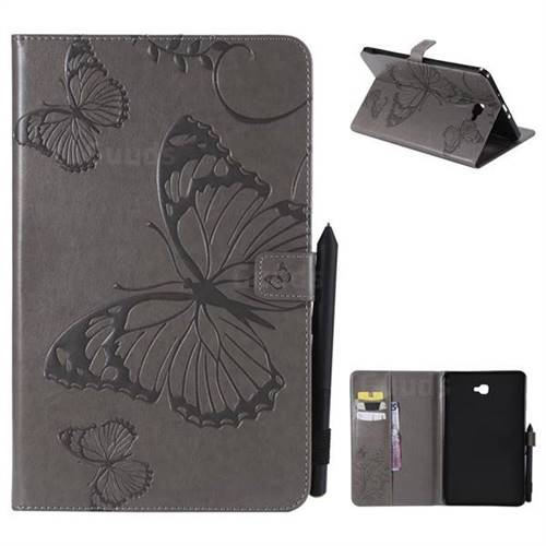Embossing 3D Butterfly Leather Wallet Case for Samsung Galaxy Tab A 10.1 T580 T585 - Gray