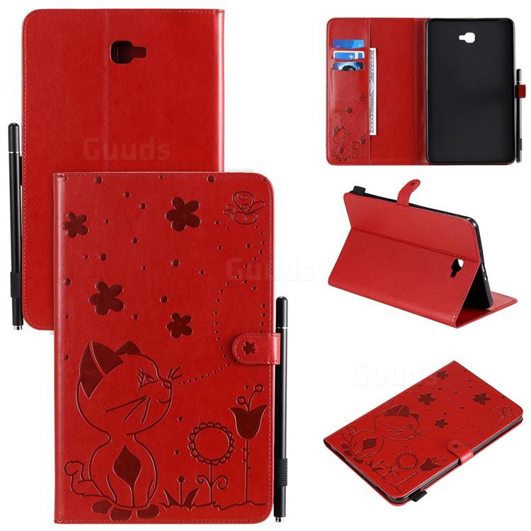 Embossing Bee and Cat Leather Flip Cover for Samsung Galaxy Tab A 10.1 T580 T585 - Red